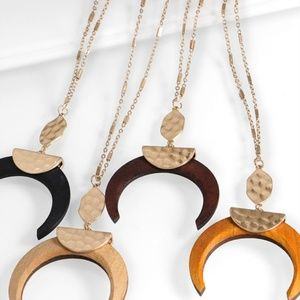 Jewelry - Light Brown Crescent Wood Pendant Necklace